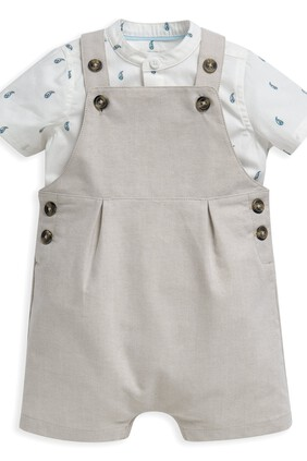 2 Piece Shirt & Linen Dungaree Set