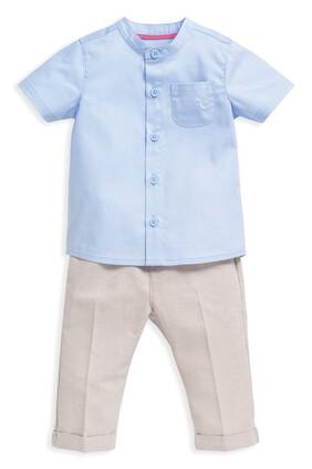 2 Piece Chambray Shirt & Trousers Set