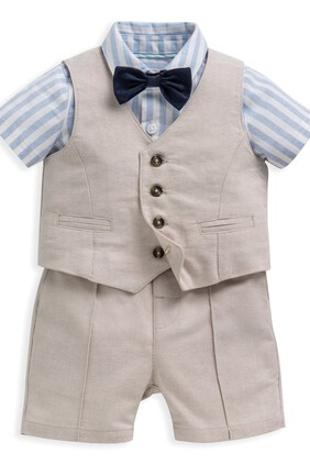 4 Piece Linen Waistcoat & Shorts Set