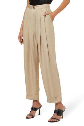 Pleated Cuffed Trousers