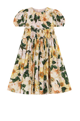 Camellia-Print Poplin Dress