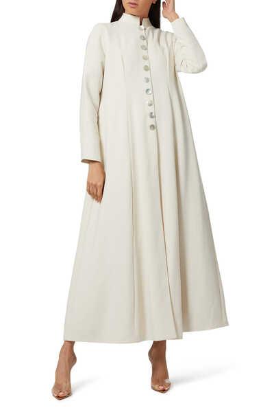 Long Buttoned Coat Abaya
