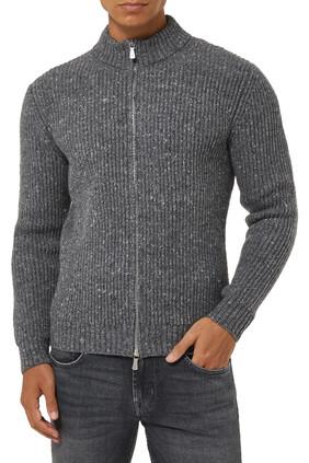 Ribbed Tweed Wool Zip Sweater