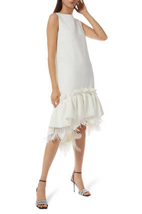 Jodie Feather-Trimmed Flounce Dress