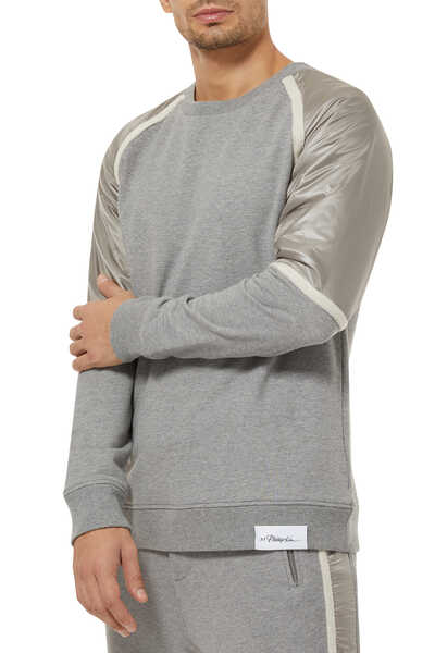 Nylon Sleeves Sweatshirt