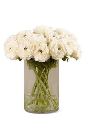Artificial Ranunculus in Glass Vase