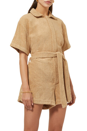 Belted Cotton-Terry Playsuit