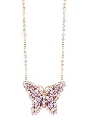 Fireworks Pink Sapphire Butterfly Necklace
