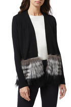 Fox Fur Trim Long-Sleeved Cardigan