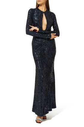Keyhole Sequin Gown