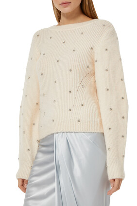 Diamante Back Twist Sweater