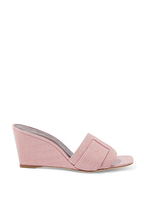 Sylvie Croc Embossed Wedge Sandals