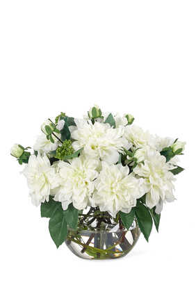 Dahlia Flowers with White Glass Bubble Vase