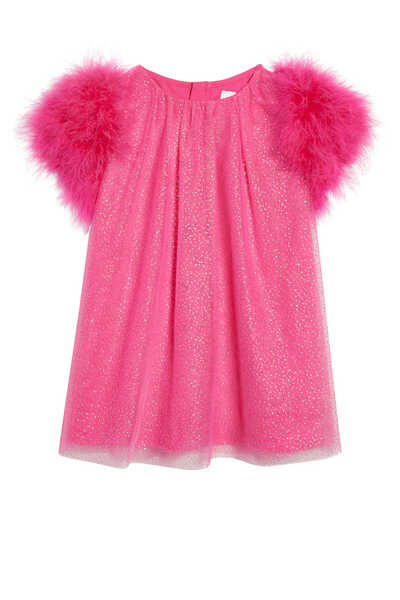 Faux Feather Tulle Dress
