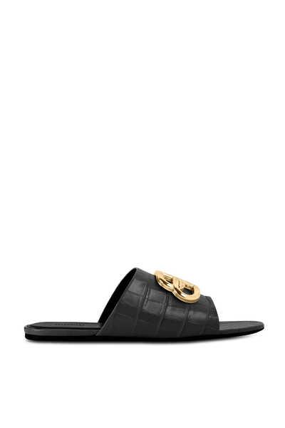Oval BB Croc-Embossed Slide Sandals