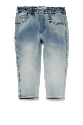 Medium-Wash Elasticated Jeans