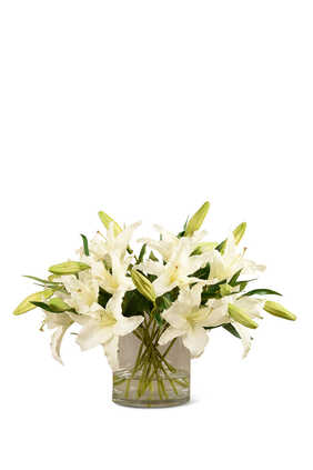 Artificial Lily in Glass Vase