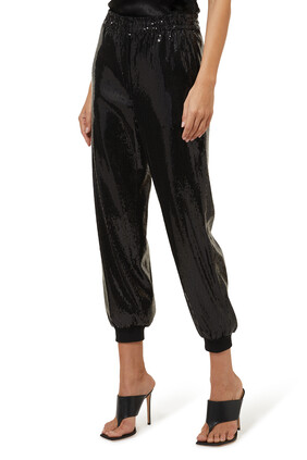 Sequin Cropped Jogging Pants
