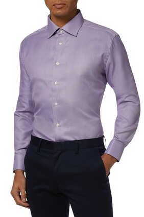 Slim Fit Houndstooth Print Shirt