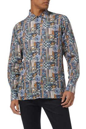 Patchwork Print Linen Shirt