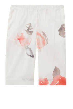 Rose Print Wide Leg Pants
