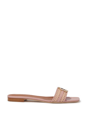 Gena Brooch Perforated Leather Slides