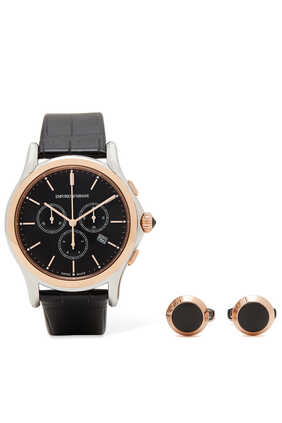Classic Watch & Cufflinks Set