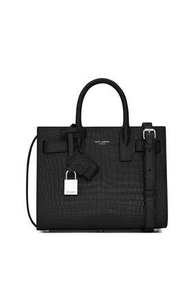 Classic Sac de Jour Nano in Crocodile-Embossed Shiny Leather