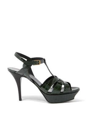Tribute Croc-Embossed Leather Platform Sandals