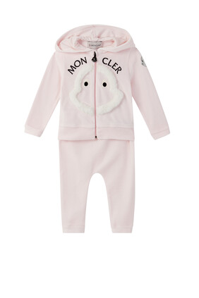 Faux Fur Logo Hooded Tracksuit