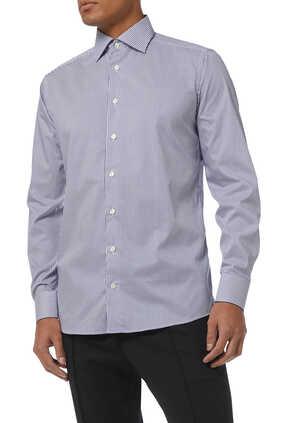 Slim Fit Stripe Print Stretch Shirt