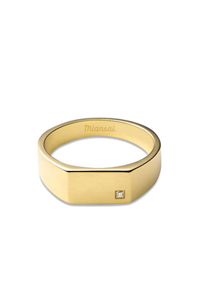 Geo Signet Diamond Ring