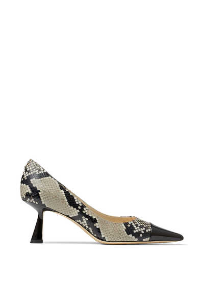 Rene 65 Snakeskin-Print Leather Pumps