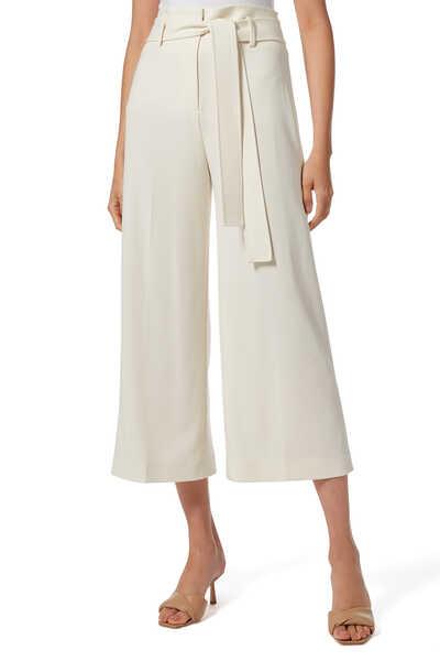 Belted Crop Linen Pants