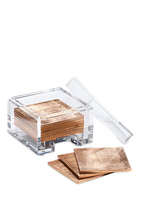 Coastbox Clear with Silver Leaf Coasters