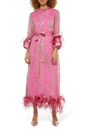 Feather-Trim Borage Dress