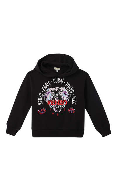 Elephant And City Names Hooded Sweatshirt