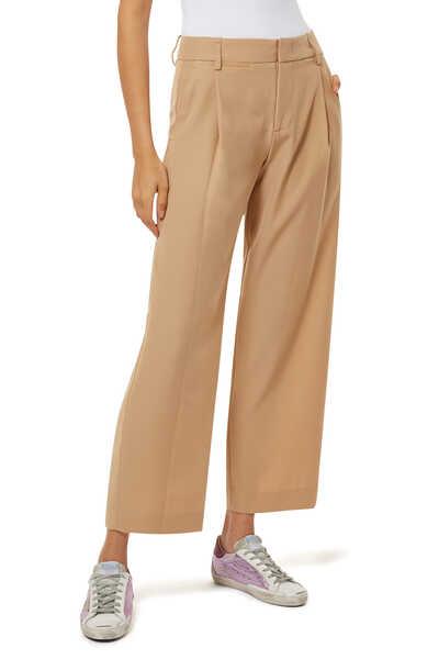 Pleat Wide Leg Pull On Pants