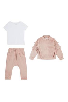 Ruffle Jacket, Top & Pants Set