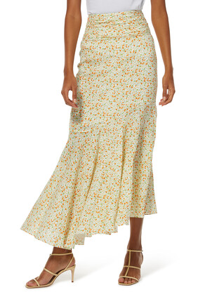 Ruched Linen Maxi Skirt
