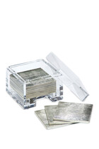 Coastbox Clear with Silver Leaf Coasters Set of 8