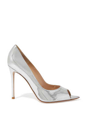 Peep Toe Metallic Pumps