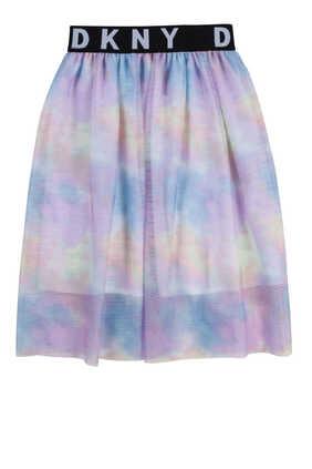 Tie-Dye Print Tulle Skirt