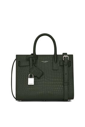 Classic Sac de Jour Nano in Crocodile-Embossed Shiny Leather