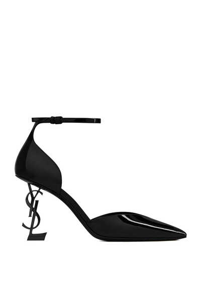 Opyum D'Orsay Pumps in Patent Leather with Monogram Heel