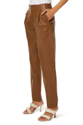 Tapered Leather Pants