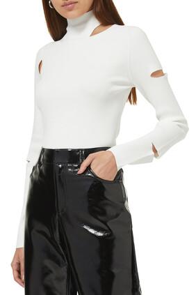 Giselle Slash Cutout Turtleneck Pullover