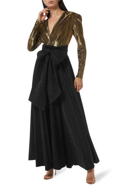 Two-Tone Long Sleeve Taffeta Gown