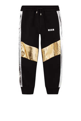 Metallic Stripe Trimmed Cotton Sweatpants