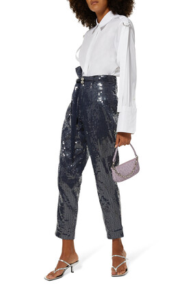 Sequin High Waist Tapered Pants